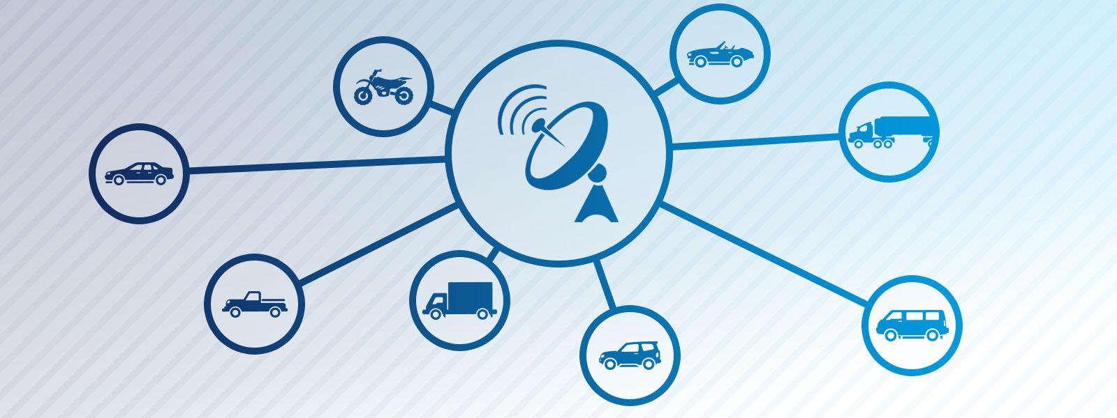 Rastreadores para automóveis, motos e caminhões